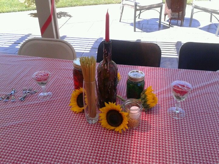Italian table decor for summertime birthday/retirement party