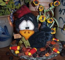 "Primitive Rooster Hen Chicken Black Bird 5"" Bear Doll Vtg Patti's Ratties Ornie"