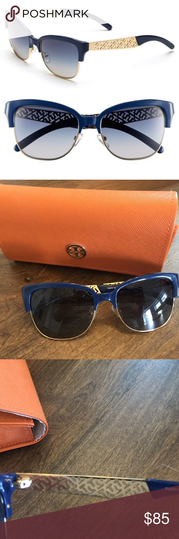 Tory Burch Navy 56MM Cat Eye Sunglasses Great Pair of Tory Sunglasses. I wore a handful of times because I like aviators better. Comes with the case.   Description from Nordstrom:   - Eye-catching logo lattice defines the temples of throwback sunglasses with gradient lenses and timeless style. - 56mm lens width; 18mm bridge width; 140mm temple length Tory Burch Accessories Sunglasses