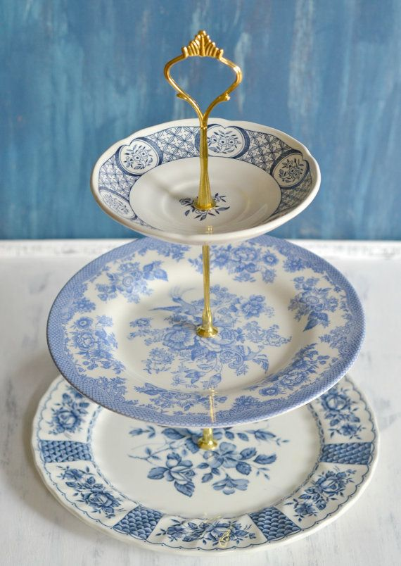 Vintage Blue and White Cake Stand by Ellya - Free Shipping (New Listing)