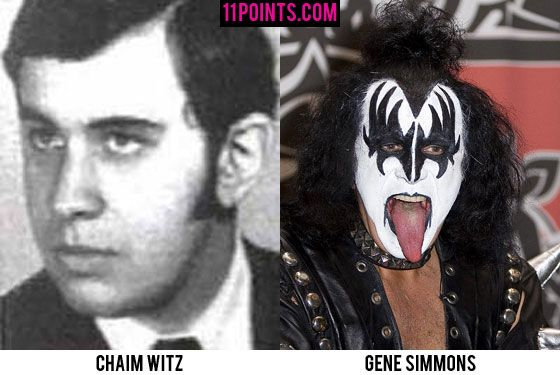 Gene Simmons. His yearbook photo shows him back when he was Chaim Witz, a nice, well-groomed Jewish mensch.  That was long before he put on face makeup, stuck his tongue out, and saved Santa.