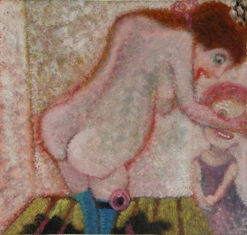 Aad de Haas (1920-1972), Prostitute and a young girl, oil on panel, 29.5 x 31.5 cm