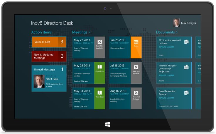 Directors Desk for Windows Directors Desk iPad Screenshots - board resolution sample