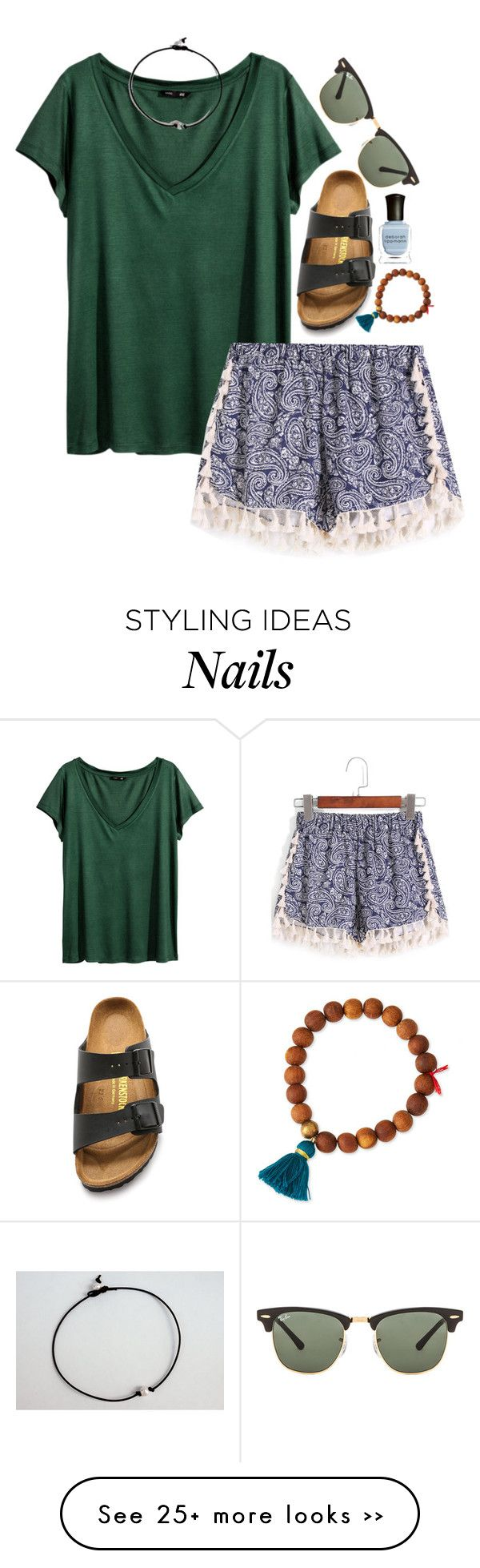 """""""i can show you the world. -Marina """" by the-preps on Polyvore featuring H&M, Birkenstock, Lead, Deborah Lippmann and Ray-Ban"""