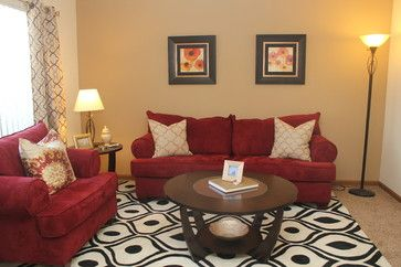 living room with red sofa design ideas, pictures, remodel and