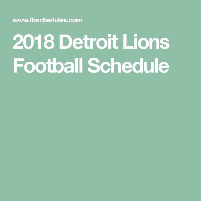 2018 Detroit Lions Football Schedule