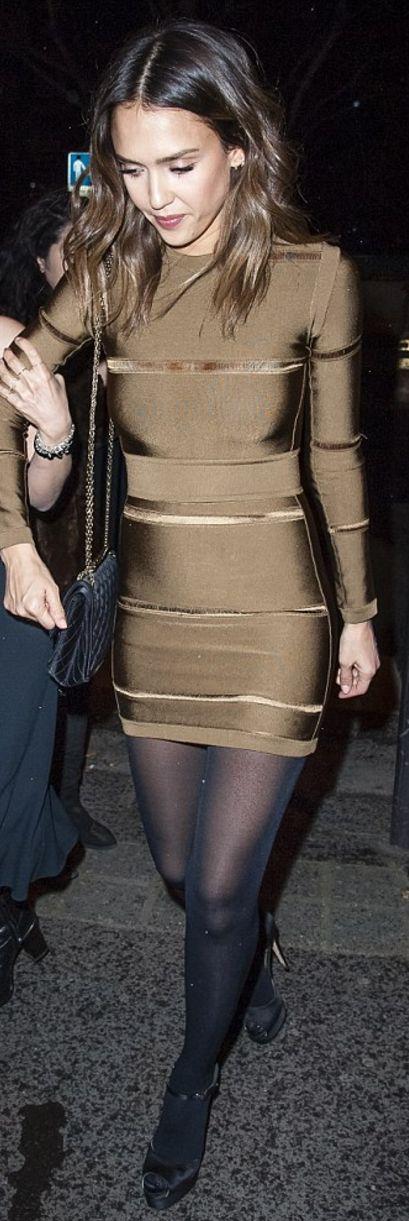 Who made  Jessica Alba's brown bandage dress and black platform shoes?