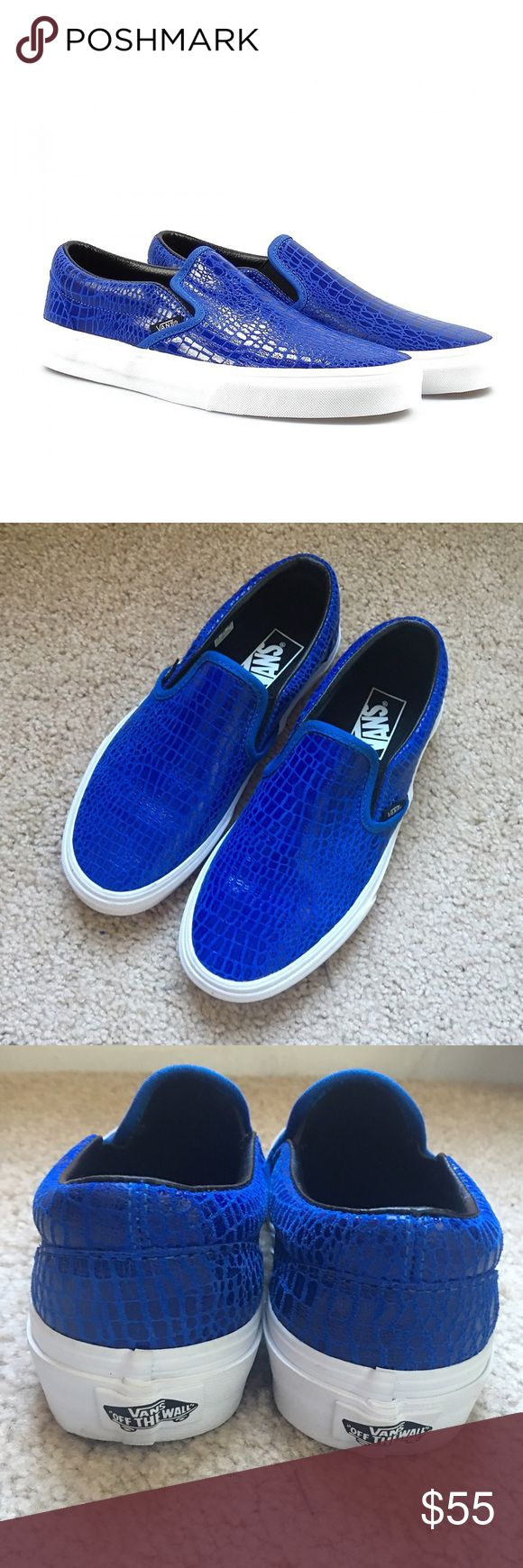 VANS royal blue leather sz: 7 Worn once, brand new condition Vans sz: 7 women's. I do not have the box. Royal blue snakeskin print all leather. These are absolutely gorgeous! Price is FIRM! Please do not ask me to trade, as you will be ignored! Vans Shoes Sneakers