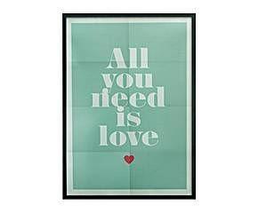 Póster enmarcado, azul - All You Need is Love