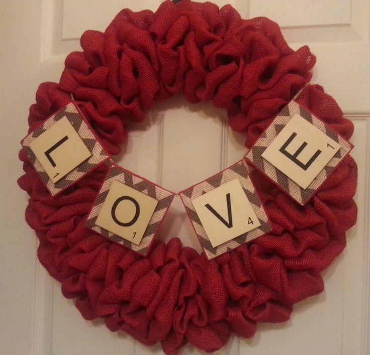 Burlap Wreath  Chevron Wreath  Valentines by RingAroundtheWreaths, $70.00