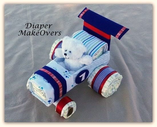 Race Car Diaper Cake  Diaper Cake  Unique Baby by DiaperMakeOvers