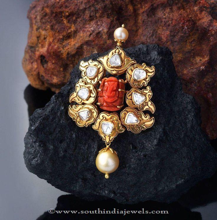 Gold Coral Pendant Designs, Coral Pendant Designs, Indian Coral Pendants.