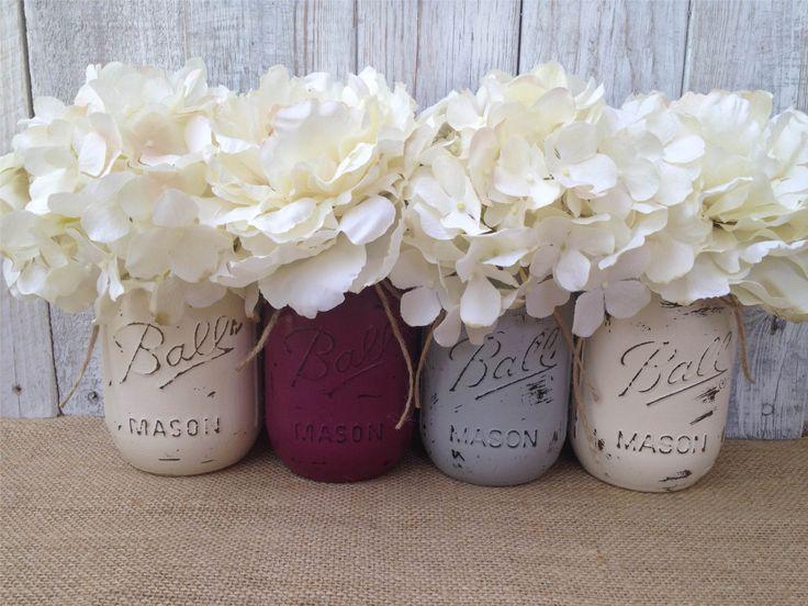 Pint Mason Jars,Plum Grey Cream,Painted Mason Jars,Rustic Wedding Centerpieces,Baby Shower Decoration,Flower Vases,Rustic Home Decor - http://www.babyshower-decorations.com/pint-mason-jarsplum-grey-creampainted-mason-jarsrustic-wedding-centerpiecesbaby-shower-decorationflower-vasesrustic-home-decor.html