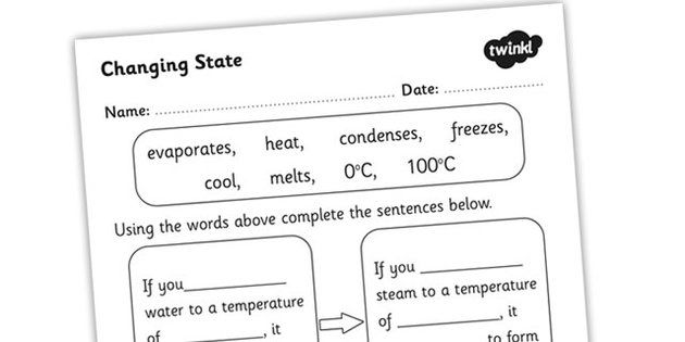 Changing States Of Matter Ice Water And Steam Worksheet Ks2 Science States Of Matter Worksheet Prepositional Phrases