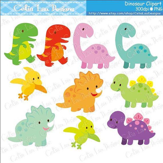 Dinosauro Digital Clipart / dinosauro carino di CeliaLauDesigns