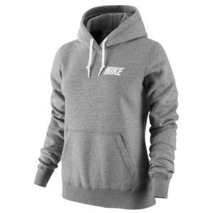 Nike Club Logo Pullover Hoodie - Women's - Dark Grey Heather/White