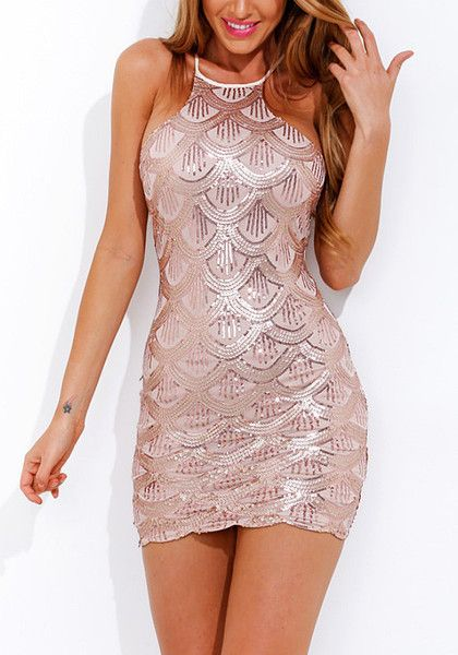 Be the center of attention in this pink scallop sequin party dress. It features a gorgeous scallop design all over its fabric, a high neckline, back zipper closure and sleeveless cut. | Lookbook Store