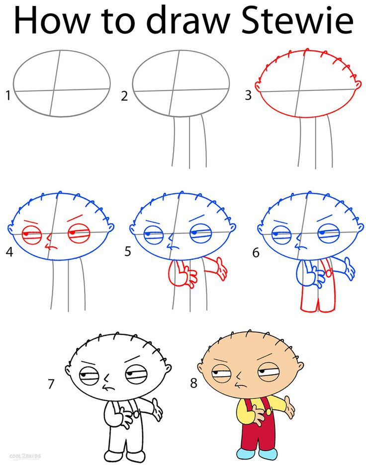 How to Draw Stewie Cute easy drawings, Step by step