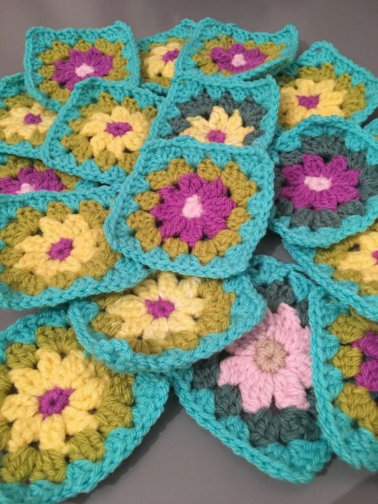 Granny Squares Crochet Flower pack of 17  | eBay