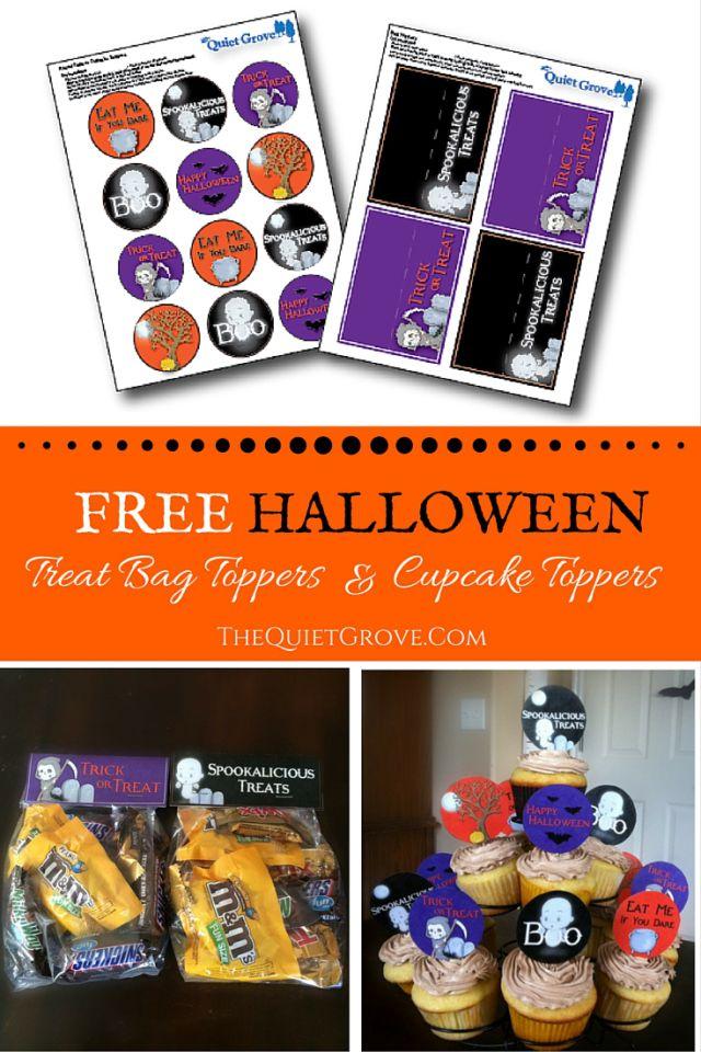 FREE Halloween Treat Bag Topper & Cupcake Topper Printables
