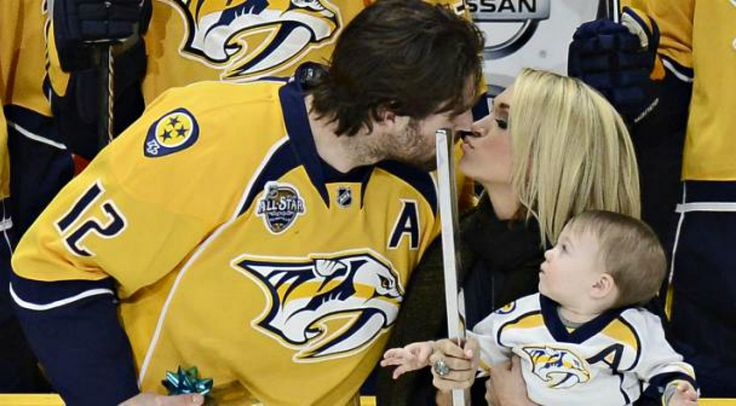 Carrie Underwood and little Isaiah were on hand to help honor Mike Fisher last night as he celebrated 1,000 career NHL games.