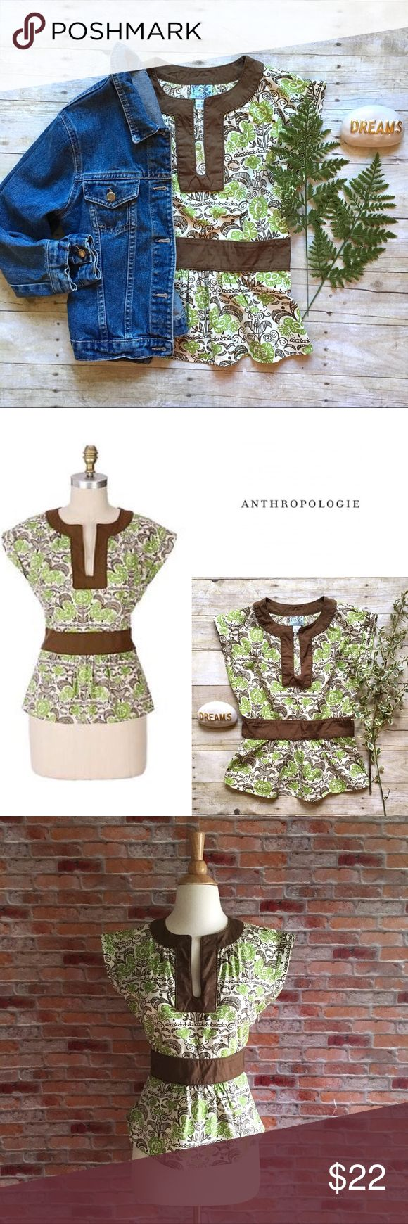 "Anthropologie Tabitha spring green top Tabitha's Lake Geneva Top Swiss flowers blossom on a field of crisp lawn cotton. Split neck. Patterned cotton with brown banded detail. Side zip. Cotton. Like new. 22.5""L. 16.5"" bust, 13.5"" waist both laying flat. Size 2. Shown on size 2-4 dress form. *Anthro jean jacket pictured is also available in my closet, buy the look and save!    {Location B5} Anthropologie Tops Blouses"