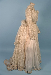 1890s Silk and Lace Tea Gown.