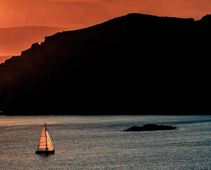 Sailing at sunset in the Mediterranean Sea.  #sunsets #sailing #sailingboat #europe #greece #summer #travel #travelphotography #landscapes #beautifullandscapes