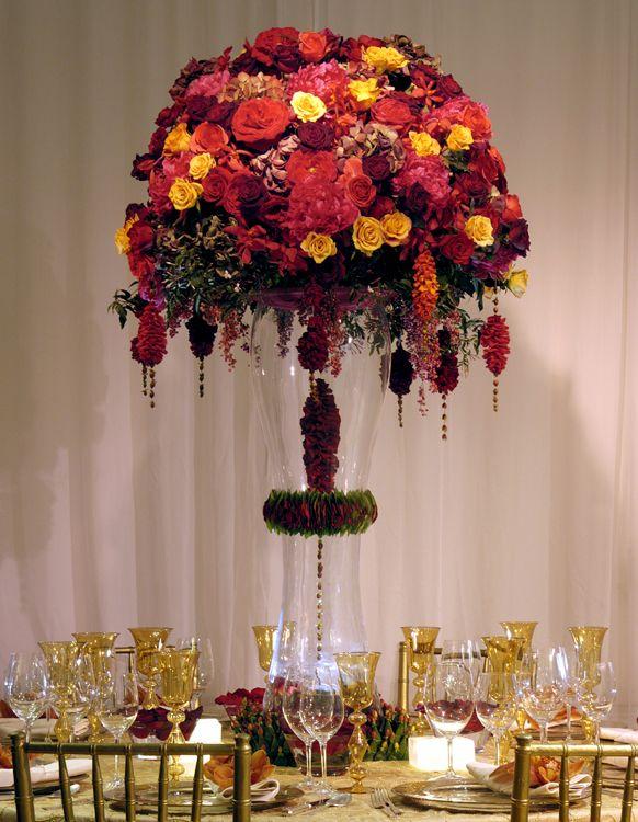 Floral Centerpieces   Preston Bailey Autumn Wedding Floral Centerpiece Option 4