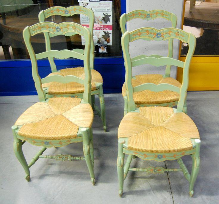 4 sedie laccate verde acqua con seduta paglia schienale decorato dipinto