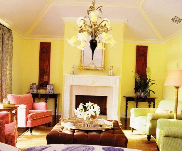 Желтые стены в интерьере стиля прованс