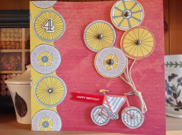 4th birthday card with bicycle and wheels by CardTimes using Man Made paper by First Edition