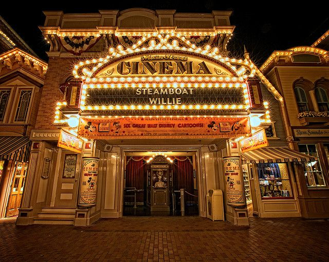 Disneyland - Main Street Cinema  Fun Fact:The mannequin in the ticket booth is wearing a Lillian cast member name badge, the name of Walt Disney's wife.