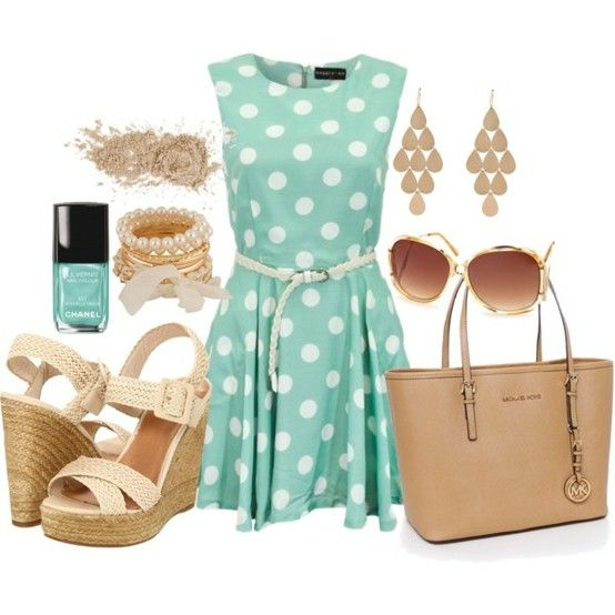 love this color!  Would not wear the espadrilles, but would exchange them for taupe heels!: Polka Dots, Fashion, Style, Polkadot, Dress, Outfit, Polyvore