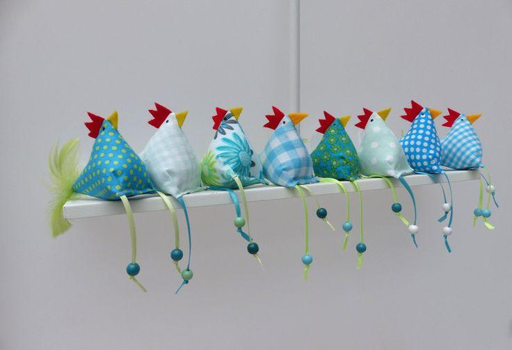 Osterdeko - 8 Hühner Huhn - ein Designerstück von Firlefanz-Design-Ulrike bei DaWanda