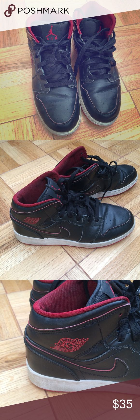 Nike youth sneakers shoes black and red Air Jordan This item is in excellent condition. You might mistake it for brand new.  All items come from a pet and smoke free home. I ship within onebusiness day of receiving payment.  Feel free to ask for more information or details pictures about the item! Nike Shoes Sneakers