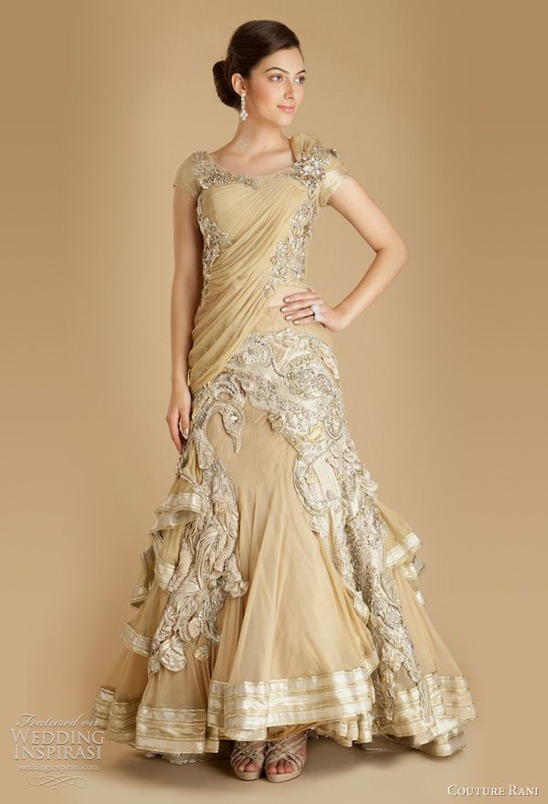 gaurav gupta wedding dress couture rani -  Draped Tulle Embroidered Peacock Lehenga