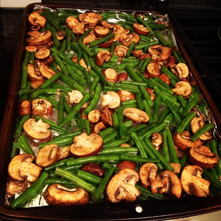 Roasted green beans and mushrooms: Put trimmed green beans and sliced mushrooms in a gallon ziploc with 2 Tbs each of olive oil and balsamic vinegar. Shake to coat, then spread evenly on a rimmed baking sheet. Roast at 230C / 450F for 20ish minutes, then sprinkle with kosher salt, pepper and Parmesan.