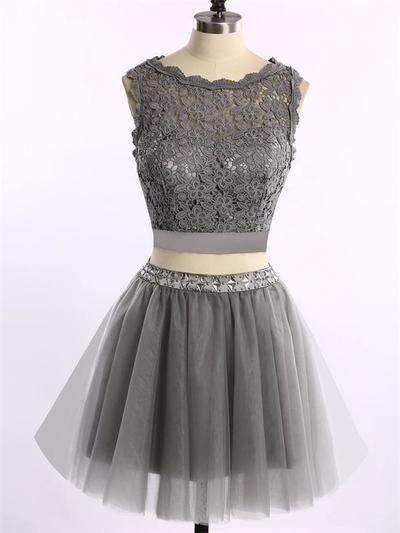 short gray Cute Two Piece Cocktail Dresses, New Arrival Lace cheap Mini Homecoming Gowns ,HD1729