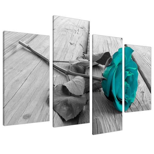 Black White Floral Flower Teal Canvas Wall Art Beautiful!