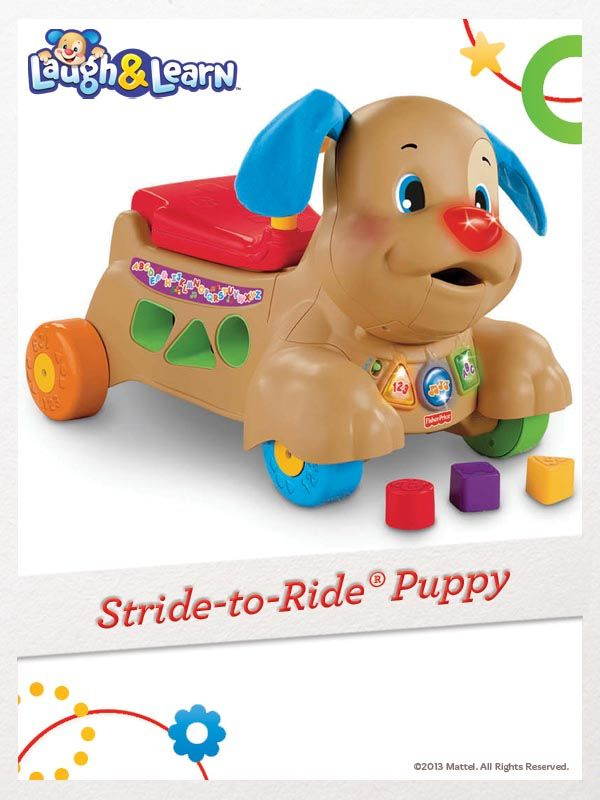The Laugh & Learn Stride-to-Ride Puppy supports baby as she learns to sit, stand, walk, and ride. For a chance to win, click here: http://fpfami.ly/01497 #FisherPrice #Toys #ChildDevelopment
