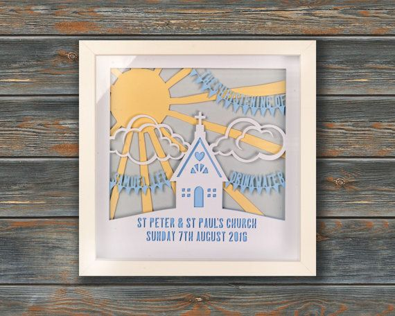 Sunbeam Boy's Christening Framed personalised by wallaceimagery