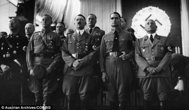 The face of evil: From left, Heinrich Himmler, Viktor Lutze, Adolf Hitler, Rudolf Hess, and Julius Streicher, in the Luitpoldhalle
