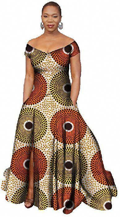 040092d91c Women's Stylish African Print Dress Split Off Shoulder Mermaid Formal Prom  color16 1X at Amazon Women's