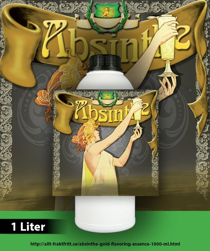 Absinthe Gold (Guld) är utvecklad och tillverkas av oss och det finns inte motsvarande produkt på marknaden.  Absinthe Guld är helt naturlig och innehåller alla örter, oljor och extrakter som skall finnas i en Absinthe - med en helt ny unik smakupplevelse som reflekterar dess vackra färg. 20 ml essens blandas till en flaska sprit på 750 ml, räcker till 50 flaskor.