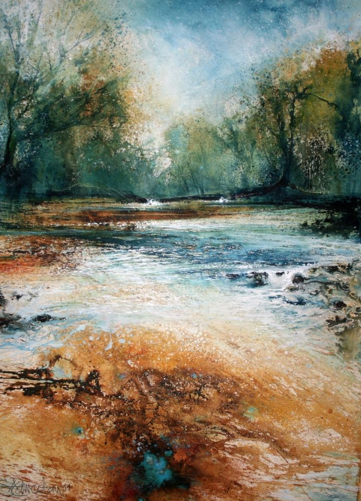 'The River Runs Gold' by Stewart Edmondson 67x92cm mixed media http://www.dart-gallery.com/gallery_detail.asp?id=2427