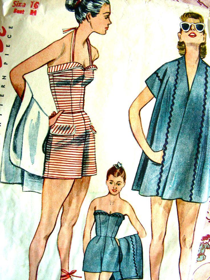 Costume da bagno modello * semplicità di 1950 integrale modello 3899 - costumi da bagno: senza spalline o Halter abito e cappotto spiaggia di balneazione / / dimensione 16 busto 34 di anne8865 su Etsy https://www.etsy.com/it/listing/190347190/costume-da-bagno-modello-semplicita-di