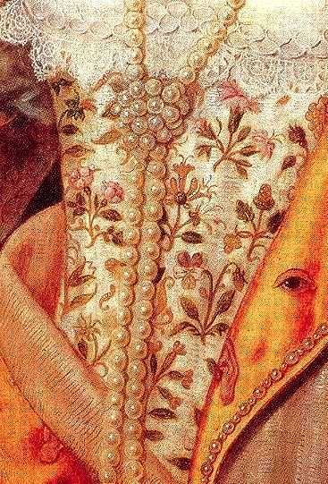Rainbow Portrait of Queen Elizabeth I (detail), c.1600-1602, attributed to Isaac Oliver (1556–1617), and to Marcus Gheeraerts the Younger (Flemish, 1561–1636)