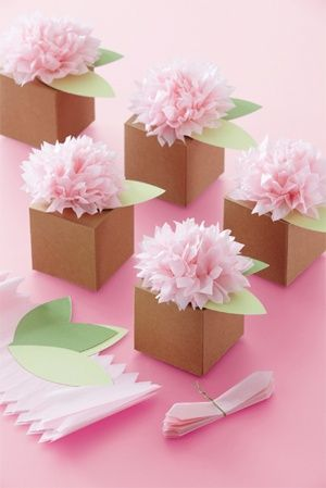 flower box favors, Stampin' Up! kraft boxes would work with this.Gift Boxes, Pom Poms, Tissue Paper Flower, Favor Boxes, Shower, Favors Boxes, Martha Stewart, Pom Pom Flower, Flower Boxes