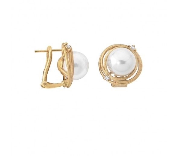 Complete your NEST Collection with these gold studs! #Majorica #janesjewelers
